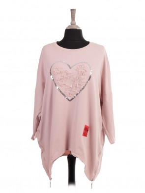 Italian Red Label Sequin Heart Lagenlook Dip Hem Top