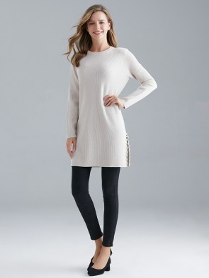 Italian Ribbed Jumper Dress With Side Split And Pearls Detail