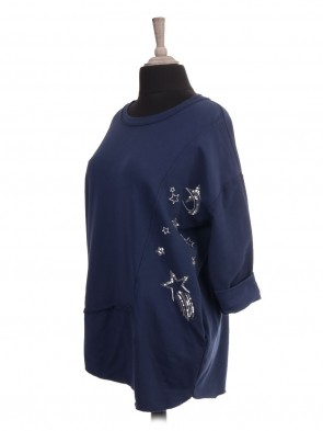 Italian Sequin and Embroidered Star Panel Top