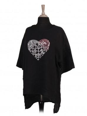 Italian Sequin Heart High Low Linen Top