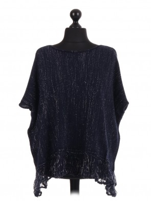Shimmery Batwing Fringe Knitted Jumper