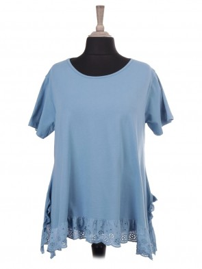 Italian Short Sleeve Lace Hem Top Tunic With Side Split
