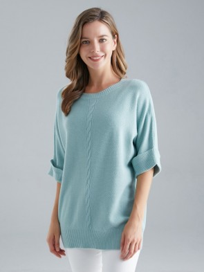 Italian Short Sleeves Cable Knit Jumper
