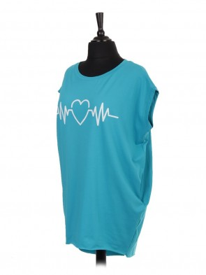 Italian Sleeveless ECG Print Dip Hem Top with Side Pockets