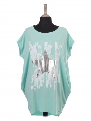Italian Sleeveless Glossy Star And Brush Stroke Print Batwing Top