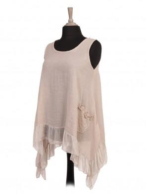 Italian Sleeveless Silk Hem Tunic Top With Sequin Pockets