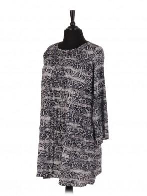 Italian Snake Skin Print Pleated Dress