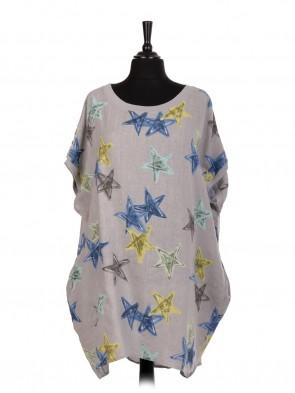 Italian Star Print Linen Baggy Dress With Side Pockets