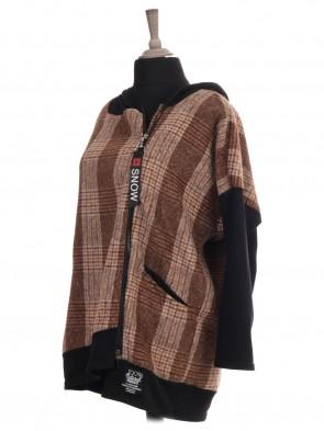 Italian Tartan Print Hooded Lana Wool Jacket With Front Pockets