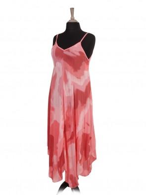 Italian Tie Dye Print Strappy Dress