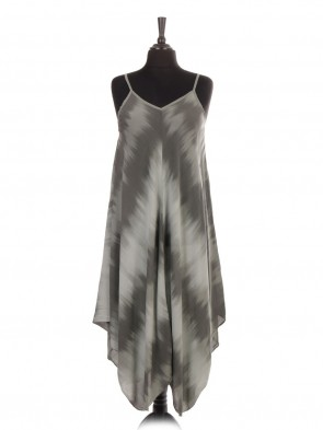 Italian Tie Dye Printed Handkerchief Hem Dress