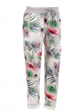 Ladies Italian Tropical Print Cotton Trouser