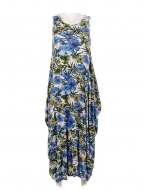 Italian Tropical Print Lagenlook Jersey Dress