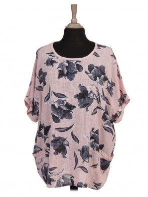 Italian Tulip Print Lace Trim Batwing Top with Front pockets