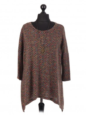 Italian Multicolor Tunic Top With Necklace