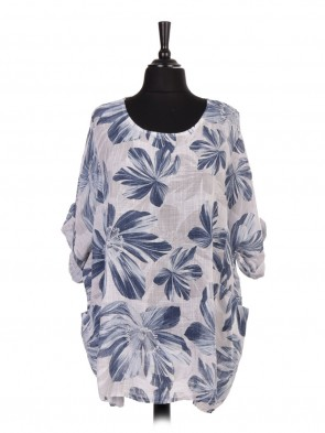 Italian Turn-up Sleeve Floral Print Batwing Top with Front Pockets