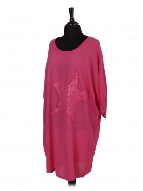 Italian Turn-up Sleeve Star Sequin Patch Dress