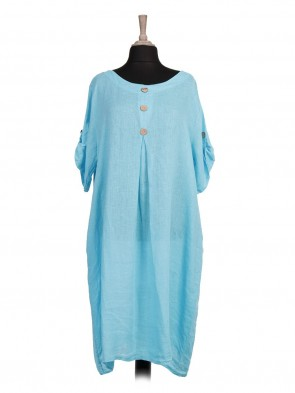 Italian Turn-up Sleeves Front Button Linen Lagenlook Dress