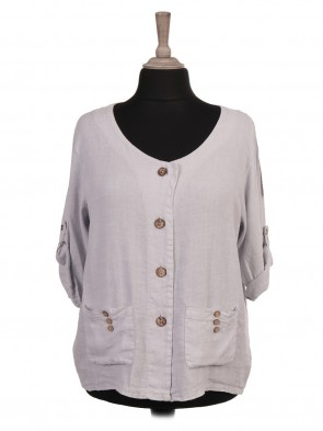 Italian Turn-up Sleeves Front Button Panel Linen Top