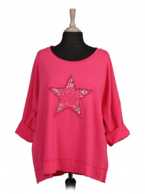 Italian Turn-up Sleeves Sequin and Embroidered Star Top