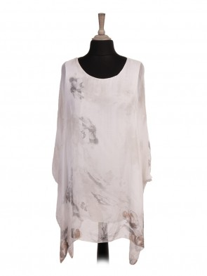 Italian Two Layered Floral Print Batwing Silk Top