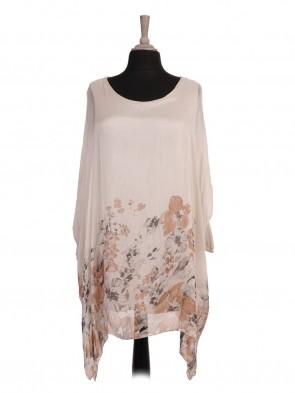 Italian Two Layered Floral Print Silk Batwing Tunic Top