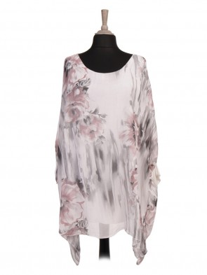 Italian Two Layered Floral Printed Silk Batwing Top