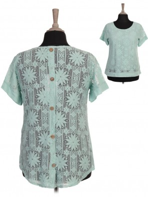 Italian Two Layered Lace Top with Back Button Panel