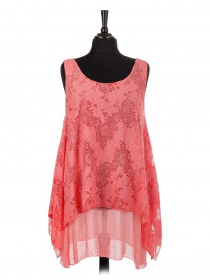 Italian Two Layered Lace Tunic Top