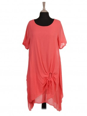 Italian Two Layered Ruched Hem Tunic Dress