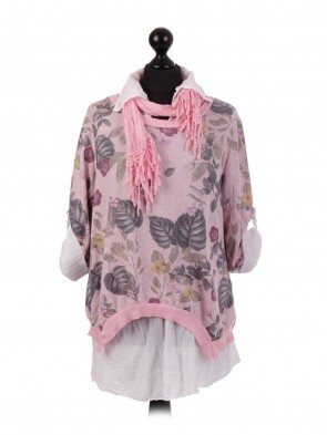 Italian Two Layered Split Back Top With Scarf