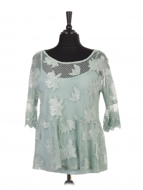 Italian Two Piece Embroidered Crochet Top