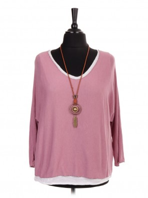 Italian Two Piece Knitted Top With Necklace