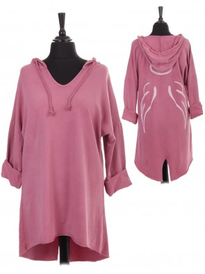 Italian V-neck Hooded Angel Wing Back High Low Top