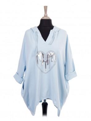 Italian V-neck Sequin Heart Hooded Top