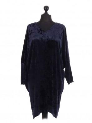 Italian Velvet Long Sleeve Batwing Cocktail Dress