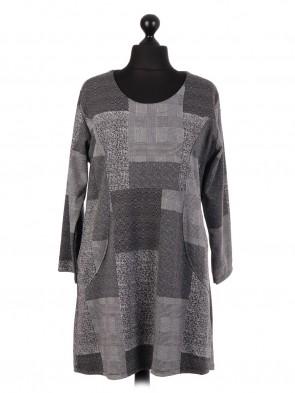 Italian Wool Mix Block Pattern Top