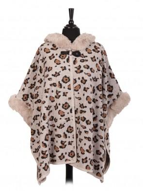 Italian Wool Mix Leopard Print Fur Cape With Buckle Fastening