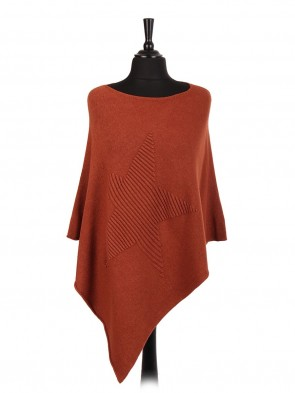 Italian Wool Mix Ribbed Star Poncho
