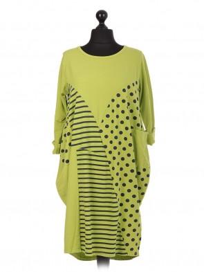 Italian Cotton Polka Dot & Stripe Dress