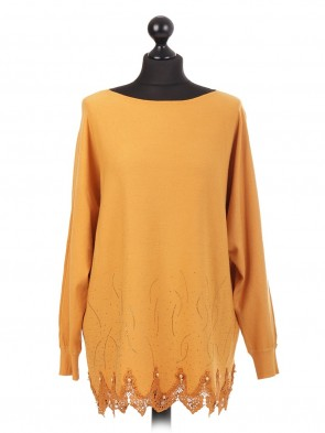 Italian Knitted Jumper With Lace Hem & Diamante Pattern