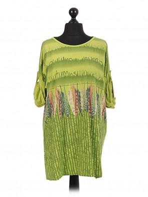 Italian Feather Print Tunic Dress