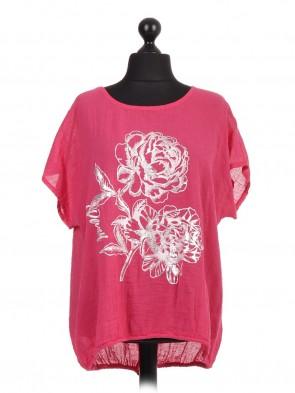 Italian Linen Glossy Floral Print Gathered Hem Top