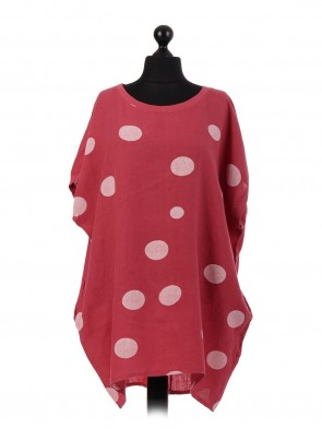 Italian Polka Dot Linen Top