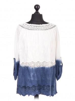 Italian Crotchet Lace Turn up Sleeve Top