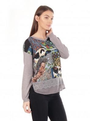 Ladies print pattern Lace Trim Jumper Top