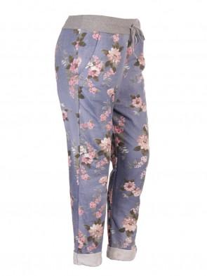 Plus Size Italian Floral Print Cotton Trousers