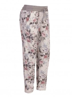 Plus Size Italian Floral Print Trouser With Side Pockets