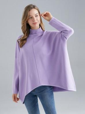 Plus Size Italian High Neck Dip Hem Knitted Poncho
