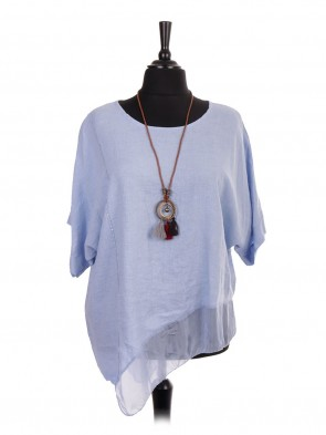 Plus Size Italian Linen Asymmetric Silk Hem Top With Necklace